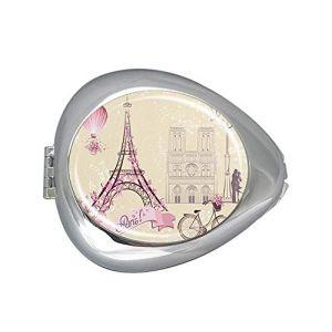 Boîte à pilules ovale avec symboles de Paris et monuments romantiques - Boîte à médicaments ovale - Pour ranger les médicaments et les vitamines (UBIBIART, neuf)