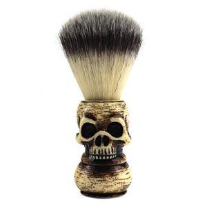 FRCOLOR Brosse de Rasage à Barbe Brosse de Rasage à Poils de Blaireau Tondeuse à Barbe Brosse de Nettoyage avec Motif de Squelette de Crâne Outil de Rasage à Barbe (Couleur Mixte 1) (Waterzke, neuf)