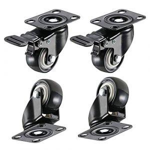 """4 pièces Roulettes pivotantes 2""""roulettes de transport roulettes de plage roulettes fortes charges panier roulettes de roulettes roues avec freins roulettes pivotantes, capacité de charge 400 kg (2"""") (Dreamsbox, neuf)"""