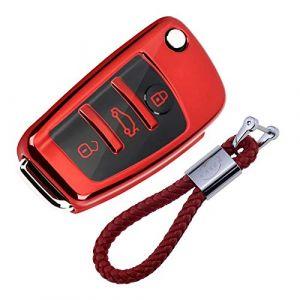 Coque en Silicone pour Clé Audi - Cover Housse TPU Souple en Chrome pour Télécommande Audi A1 A2 A3 A4 A5 A7 Q1 Q3 Q5 TT Porte-clé Protection (Rouge) (KiJi, neuf)