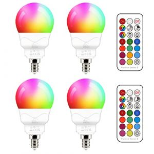 Ampoule LED E14 5W (équivalent 40W) Couleur RGB Changement Variation Coloré RGBW Globe Blanc froid 5700K Dimmable par Télécommande (lot de 4) (RisingTech, neuf)