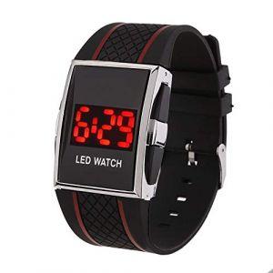 Montre LED Bande de silicone LED Digital Date Calendar Sportif Electronic Unisexe Montre-bracelet (Color : Black+Red) (AiSiWeiDianZi, neuf)