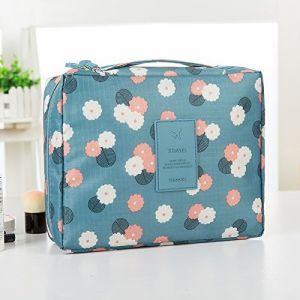 MZP Corée sac de lavage Kit de Voyage portable dame Voyage poche imperméable Voyage d'affaires Produits cosmétiques , blue daisy (ZhongPing Miao, neuf)