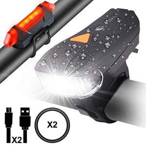 Myguru Lampe Vélo LED Lumières Ultra Puissante Eclairage VTT 400 Lumen Bike Light Phare VTT Avant Arrière Rechargeable USB 5 Modes Impermeable pour Vélo VTT Cycliste Camping Sport Extérieur Nocturne (JinMai-FR, neuf)