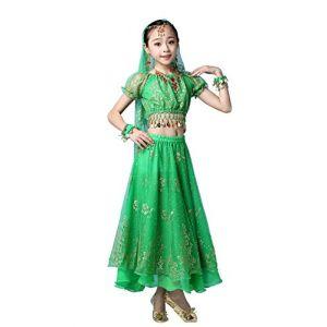 FEOYA Costume Danse Indienne Enfant Robe Danse Orientale Fille Tenue Danse du Ventre Belly Dance Déguisement Bollywood Fille Halloween Carnaval Cosplay 5-8 Ans Vert (GAOCHENGEU, neuf)