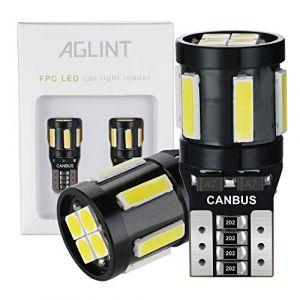 AGLINT T10 W5W Ampoule LED CANBUS Sans Erreur Voiture Light 194 168 2825 10SMD LED Ampoules de Remplacement, Lampe de Lecture de Voiture, Lampe de Plaque D'immatriculation, Blanc, 2 Pièces (AGLINT, neuf)
