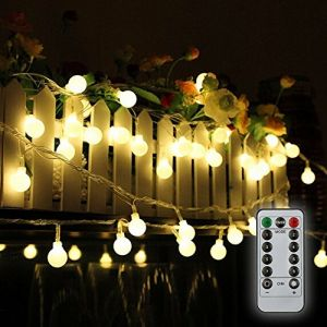 Guirlande lumineuse,Tomshine10M 80 ampoule,8 Modes avec télécommande, étanche IP44, Luminosité réglable, 0.6W LED à Piles Petites Boules, Alimenté par batterie[Classe énergétique A+] (Blanc Chaud) (Meelady, neuf)