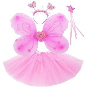 Fun Play TOWO Deguisement de Clochette fée Papillon - Ailes, Baguette, Serre-tête et Tutu - Déguisement Papillon pour Enfants 3 - 8 Ans - Couleur Rose (Toys of Wood Oxford, neuf)