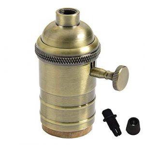 PIANUO Douille Culot de Lampe avec Interrupteur en Cuivre Laiton Vintage Support pour Rétro Edison Style Ampule E27 - Couleur Bronze (PIANUO-FR, neuf)