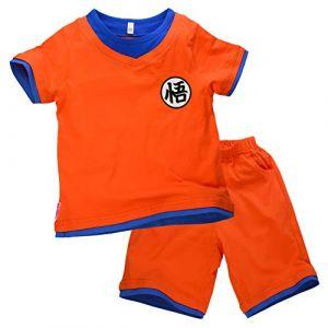papapanda Enfant Son Goku T-Shirt Short Dragon Ball Déguisement Orange Bleu (140 (EU128)) (papapanda with VAT, neuf)