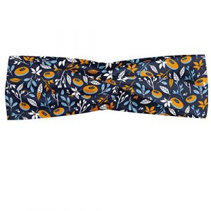 ABAKUHAUS Abakuus Bandana pour foulard avec branches de fleurs dessinées à la main avec ressort abstrait Composition sur fond foncé, élastique et confortable Accessoire de tous les jours, multicolore (Abakuhaus, neuf)