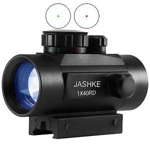 JASHKE Airsoft Lunettes de Visée Viseur Point Rouge Airsoft Lunettes de Visée pour Rail 11mm/20mm avec Support et Couvercle (Omumu, neuf)