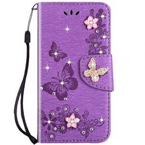 Felfy Compatible avec iPhone SE / 5S / 5 Coque Portefeuille Luxe Glitter Strass Diamant 3D Papillon Housse à Rabat PU Cuir étui de Protection Magnétique Flip Case Bumper avec Fentes pour Cartes,Violet (Okssud, neuf)