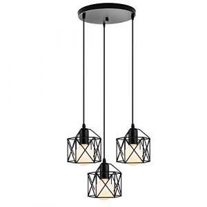 STOEX Lot de 3 Lustre Suspension industrielle Lampe de Plafond Abat-Jour Corde Ajustable Luminaire Salle à Manger,Bar Noir (STOEX, neuf)