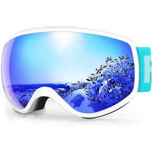findway Masque de Ski Enfant 3 à 8 Ans - Lunettes de Ski Enfant Masuqe Ski pour Garçon et Fille Anti-UV Antibuée Compatible avec Casque pour Ski Snowboard Sports (Lentille Bleu (VLT 7.29%)) (Findway Direct, neuf)