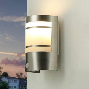 Lampe d'extérieur avec détecteur de mouvement en acier inoxydable IP44 E27 Applique murale détecteur de mouvement extérieur maison porte entrée (Licht-Erlebnisse, neuf)