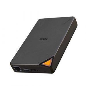 SSK Portable Disque Dur Externe sans Fil 1To Personal Cloud Smart Storage, avec Point d'accès Wi-FI Propre, Sauvegarde Automatique, téléphone, Tablette, Ordinateur Portable, accès à Distance sans Fil (SSK Corporation Direct, neuf)