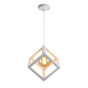 STOEX Suspension Luminaire Industrielle Contemporain, Lustre Abat-Jour Plafonnier en Métal Fer Cage E27 (Cube-Blanc) (STOEX, neuf)