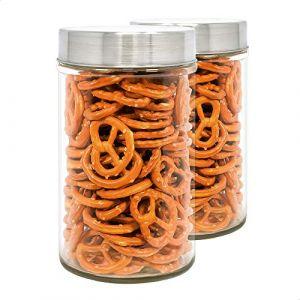 Pack 2 Bocaux en Verre, 0,9 L (17x10 cm), avec Couvercle Fileté en Acier Inoxydable. (NB GROUP, neuf)