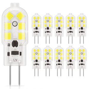 DiCUNO 10-Pack G4 LED 1.5W Ampoule, 180LM, AC/DC 12V Ampoules d'éclairage équivalent à 20W halogène, Lumière du jour Blanc 6000K, non dimmable, remplacement pour Cooker éclairage (DiCUNO EU Direct, neuf)