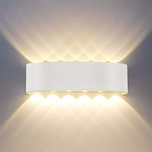 Applique Murale Moderne IP65 Imperméable à l'eau 12W LED Appliques Murales aluminium Lampe Murale Interieur pour le salon chambre Hall Escalier Pathway (12W) (JuShan, neuf)