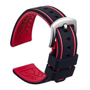 Ullchro Bracelet Montre Remplacer Silicone Bracelet Montre Bicolore - 20, 22, 24, 26mm Caoutchouc Montre Bracelet avec Acier Inoxydable Boucle Argent (22mm, Noir et Rouge) (Ullchro-EU, neuf)