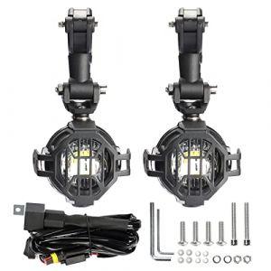 LED feux Additionnels moto Phare antibrouillard + Housse de Protection + Moto Câblage , LITTOU 40 W 3000LM 6000 K (set1) (XLED, neuf)