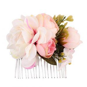 pu ran - Peigne à cheveux avec fleurs artificielles pour femme - Pour mariage (pu ran, neuf)