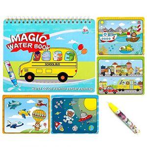 Sipobuy Livre de Dessin de l'eau Magique Coloriage de l'eau Livre de griffonnage avec Un Stylo Magique Conseil de Peinture pour Les Enfants Education Dessin Jouet (Véhicule) (OK Gift, neuf)