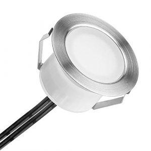 Spot à Encastrable Lampe de sol-Lumière(Blanc Froid) étanche IP67 1W Ø45mm-éclairage pour terrasse, patio, chemin, mur, jardin, décoration, intérieur et extérieur (INDARUN-EU, neuf)
