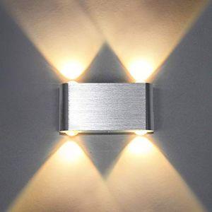 Louvra Applique Murale LED 4W Intérieur Lampe Décorative Moderne Créatif Originale Éclairage Design Lumiaire Aluminium pour Chambre Maison Couloir Salon Blanc Chaud (Louvra, neuf)