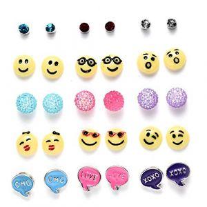 15 Paires Lot Boucle d'oreille Enfant Fille Emoji Ballon Strass bijoux d'oreille (Bensoco, neuf)
