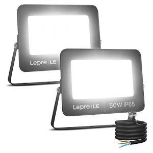 LE Lot de 2 Projecteur LED Ultra Mince 50W 5000LM Blanc Froid 5000K Spot LED Extérieur IP65 Etanche Verre Trempé à Grain Fin, Lampe LED Extérieur pour Jardin, Cour, Garage, Entrée (Home MART, neuf)