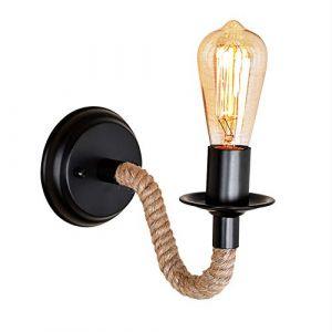 Mengjay Applique Murale Chanvre Corde Chandelier Conduite d'eau Luminaire Industriel Rétro Lampe murale créative lampe 1 Douille E27 Parfait Eclairage Decoratif (Mengjay, neuf)