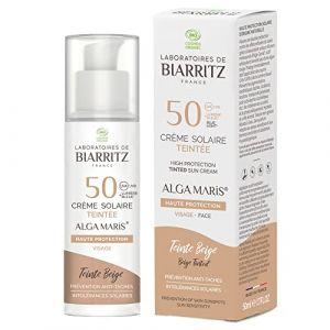 Laboratoires de Biarritz - Crème Solaire Visage Teintée Beige - SPF50 - ALGA MARIS® Certifiée Bio - Hydrate, Matifie, Unifie pour un Effet Bonne Mine - 50 ml - Fabriquée en France (PARAPHARMACIE, neuf)