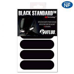 VFLUO Black Standard™, Kit 4 Bandes Stickers rétro réfléchissants pour Casque Moto, 3M Technology™, Noir (VFACTORY, neuf)