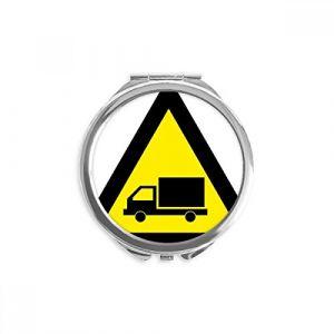 DIYthinker symbole d'avertissement triangle camion jaune noir miroir rond maquillage de poche à la main portable 2,6 pouces x 2,4 pouces x 0,3 pouce Multicolore (bestchong, neuf)