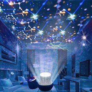 Veilleuse projection etoile - veilleuse ciel étoilé avec câble USB, veilleuse bébé projection rotation de 360 degrés projecteur etoile bebe veilleuse pour enfant (Excemilin, neuf)