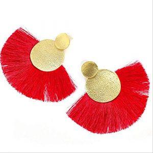 cadeaux Boucles D'oreilles Rouge Long Gland Boucle D'oreille Pour Les Femmes Vintage Bohème Frange Boucle D'oreille Boho Déclaration Boucle D'oreilleRouge (Graceguoer, neuf)