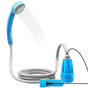 LIBERRWAY Douches de Camping Douche Portable Douches de Randonnée Voyage avec 3-Ans de Garantie pour la 2200mAH Batterie Rechargeable, Pommeau Douche Tuyau Pompe Douchette- Bleu (ZHIAOTECK-fr, neuf)