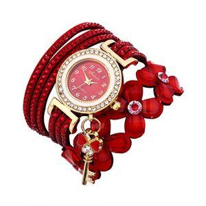Montre Bracelet Femmes Pas Cher Oyedens Montres Bracelet pour Femme Charme Vintage Weave chaîne Bracelet Femmes Mode Montre-Bracelet Bijoux Cadeaux (Rouge) (Oyedens, neuf)