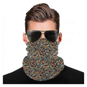Yeuss Hipster Fabric par Head Scarf, Cinema Items Combined in an Abstract Style Popcorn Movie Reel The End Theatre, Outdoor seamless polyvalent magic scarf (Tuing, neuf)