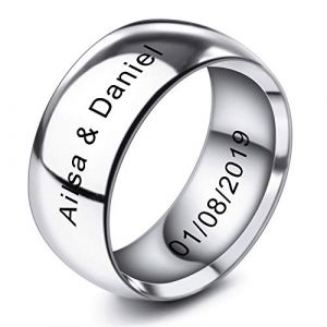 MeMeDIY 10mm Ton d'argent Acier Inoxydable Anneau Bague Bague Mariage Amour Taille 60 - Gravure personnalisée (MeMeDIY, neuf)