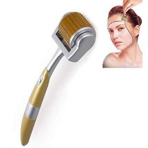 Rouleau Derma 192 Titane Croissance de la Barbe et Repousse des Cheveux Micro Aiguilles Derma Roller Anti-âge Soin de la Peau Outil de Beauté Derma Kit d'aiguilletage,Gold,0.3mm (Create a Miracle, neuf)