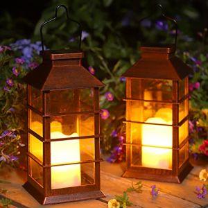 Lot de 2 Lanterne Solaire Exterieur Lampe Solaire de Jardin IP44 Imperméable Vintage Lumière en Plastique Accrochant Éclairage Décorative LED LumièRes de Bougie pour Garden Patio Couloir FêTe (UlmisfeeDirect, neuf)