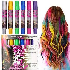 Coloration Kit de Déguisement et Maquillage Pastel pour Décoration des Cheveux Semi-permanent Craie Coloré Coloration Cheveux Cosplay des Cheveux avec 6 Couleurs Cadeau de Noël (YJZQ, neuf)
