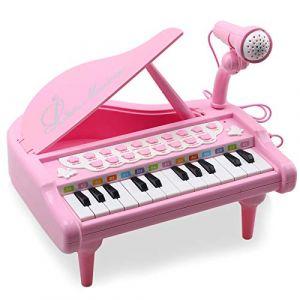 Amy & Benton Jouet Piano Clavier avec 24 Touches Instrument de Musique Électronique Éducationnel avec Microphone de Cadeau d'Anniversaire pour Bébé,Rose (Amy&Benton, neuf)