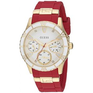 GUESS Women's Quartz Stainless Steel and Silicone Casual Watch, Color:red (Model: U1157L2) (Monatik llc, neuf)