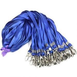 50pcs Bleu Cordon Clip 81,3cm Plat Lanière avec badge Clip cordons de cou Porte-clés, pour cartes d'identité/badge (Antspirit Store, neuf)