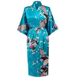 Cityoung-Kimono Japonais en Satin Sexy Robe de Chambre Peignoir-Femme (Bleu,XL) (westkun, neuf)